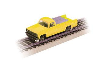 Bachmann Rail Pick UpTruck w/Lights Self-Propelled MOW -- HO Scale Trolley and Hand Car -- #46201
