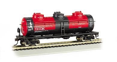 Bachmann 3-Dome Tank Car - 3-Rail Transcontinental Oil Co. -- O Scale Model Train Freight Car -- #47115