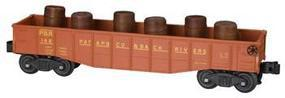 Bachmann Gondola with 6 Wooden Barrels - Patapsco & Back River O Scale Model Train Freight Car #47205
