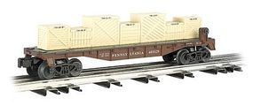 40' Flat Car w/Crate Load Pennsylvania O Scale Model Train Freight Car #47552