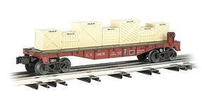 Bachmann 40 Flatcar w/Crate Load - 3-Rail Lehigh Valley #10038 O Scale Model Train Freight Car #47553