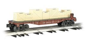 Bachmann 40 Flatcar w/Crate Load - 3-Rail Seaboard Air Line O Scale Model Train Freight Car #47554
