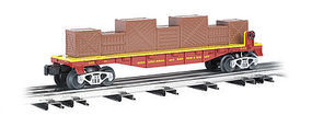 Bachmann 40 Flatcar w/Crate Load - 3-Rail Ringling Bros. O Scale Model Train Freight Car #47556
