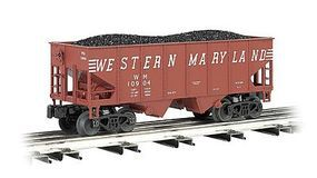 Bachmann 55-Ton 2-Bay Hopper w/Coal Western Maryland O Scale Model Train Freight Car #48203
