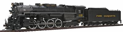 Bachmann 2-8-4 Berkshire w/Tender Pere Marquette 1225 -- HO Scale Model Train Steam Locomotive -- #50901