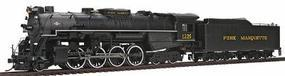 2-8-4 Berkshire w/Tender Pere Marquette 1225 HO Scale Model Train Steam Locomotive #50901