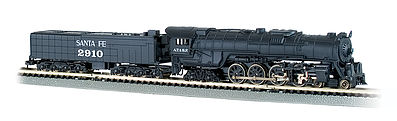 Bachmann Northern 4-8-4 w/Light 52' Tender Santa Fe #2910 -- N Scale Model Train Steam Locomotive -- #58153