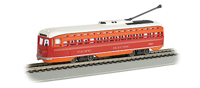 PCC Streetcar w/DCC, Sound & Sparking Trolley Pole Pacific Electric (red, orange)