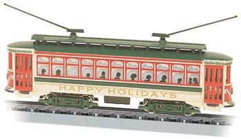 Bachmann Brill Trolley Happy Holidays, Christmas -- N Scale Trolley and Hand Car -- #61085