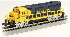 Bachmann EMD GP40 with Dynamic Brakes Standard DC Santa Fe 3808 (Warbonnet, blue, yellow) N-Scale