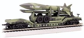 Bachmann 52 Flatcar Olive Drab Military w/Missile N Scale Model Train Freight Car #71396