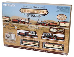 Bachmann Transcontinental Train Set with Sound and DCC Union Pacific, Central Pacific 4-4-0 Locomotives, 2 Cars, Track and Controll