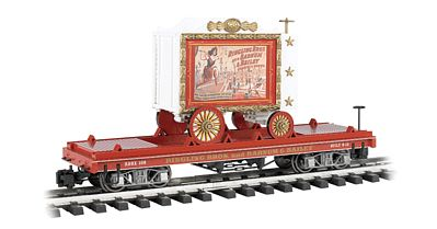 Bachmann Ringling Bros Flat Car w/Tableau Wagon Lady Artist -- G Scale -- Model Train Freight Car -- #92714