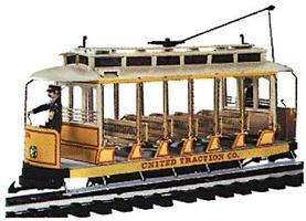 Bachmann Open Streetcar w/Lights Standard DC United Traction #504 (Yellow, cream) G Scale #93938