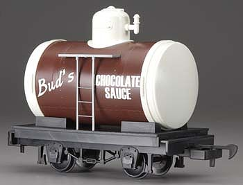Bachmann Tank Car Li'l Big Haulers - Bud's Chocolate Sauce -- G Scale Model Train Freight Car -- #98088