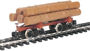 Bachmann Skeleton Log Car w/Logs -- G Scale Model Train Freight Car -- #98490