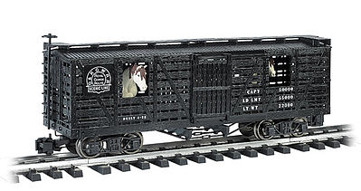 Bachmann Animated Stock Car D&RG with Horses -- G Scale Model Train Freight Car -- #98701