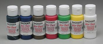 Badger Airbrush Co. Air-Tex Textile Airbrush Paint Set Primary (7) -- Airbrush Fabric Paint -- #1101