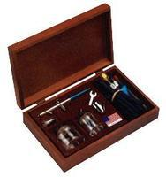 Badger Pro Airbrush MD/HD Set Dual/Int w/Wood Case Airbrush and Airbrush Set #150-4pk