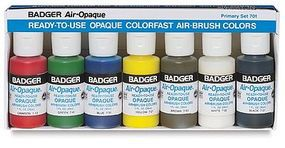 Badger Air-Opaque Paints Primary Set 1oz. Bottles Model Airbrush Acrylic Paint Set #701s