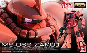 Bandai Gundam Real Grade- #2 MS06S Chars Zaku (Re-Issue) Plastic Snap Figure 1/144 Scale #165511