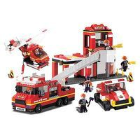 Brictek Fire Station with Sound/Light 713pcs Building Block Set #11304