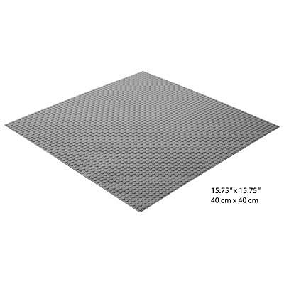 Brictek Grey Baseplate 15.625x15.625 Building Block Set #19002