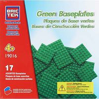 Brictek Baseplate 17 Assorted Green Building Block Set #19016