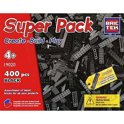 BRICTEK BUILDING BLOCKS Black Super Pack 400pcs -- Building Block Set -- #19020