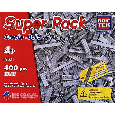 BRICTEK BUILDING BLOCKS Grey Super Pack 400pcs -- Building Block Set -- #19021