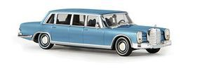 Berkina Mercedes 600 Limousine Assembled Metallic Ice Blue Model Railroad Vehicle HO Scale #13006
