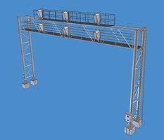 BLMS Modern Triple-Track Signal Bridge HO Scale Model Railroad Trackside Accessory #4025
