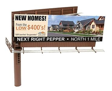 BLMA Modern Dual Sided Billboard, Assembled -- N Scale Model Railroad Billboard Sign -- #520