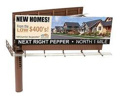 BLMS Modern Dual Sided Billboard, Assembled N Scale Model Railroad Billboard Sign #520