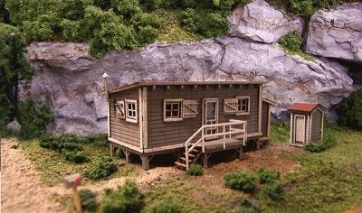 Blair-Line Joes Cabin w/Outhouse - Laser-Cut Wood Kit N Scale Model Railroad Building #1000