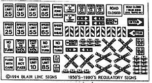Blair Line Highway Signs Regulatory Signs #1 1950s-Present -- HO Scale Model Railroad Roadway Accessory -- #102