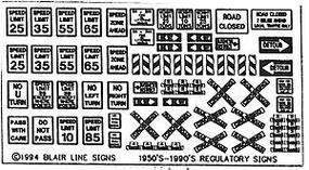 Blair-Line Highway Signs Regulatory Signs #1 1950s-Present HO Scale Model Railroad Roadway Accessory #102