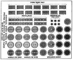 Blair-Line Manhole Covers & Storm Drains Decals HO Scale Model Railroad Roadway Accessory #162