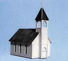 Blair-Line Wood Frame Church (4-7/8 x 3 x 6-1/2) HO Scale Model Railroad Building #169