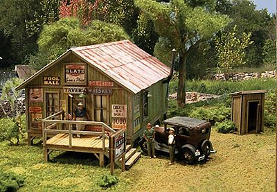 Blair Line Sam's Roadhouse w/Outhouse Kit -- HO Scale Model Railroad Building -- #2003