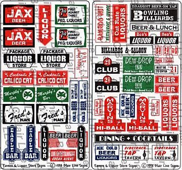 Blair line signs tavern liquor store signs ho scale - Printable ho scale building interiors ...