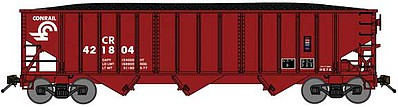 Bluford 70-Ton 3-Bay 14-Panel Hopper w/Load 3-Pack - Ready to Run Conrail (Boxcar Red) - N-Scale