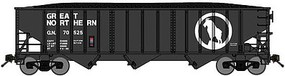 Bluford 70-Ton 3-Bay 14-Panel Hopper w/Load 3-Pack - Ready to Run Great Northern (black, white, Large Rocky Silhouette) - N-Scale