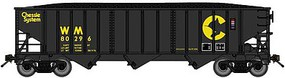 Bluford 70-Ton 3-Bay 14-Panel Hopper w/Load Ready to Run Chessie System WM (black, yellow) N-Scale