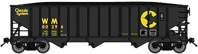 Bluford 70-Ton 3-Bay 14-Panel Hopper w/Load 2-Pack - Ready to Run Chessie System WM (black, yellow) - N-Scale