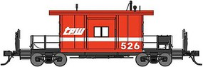 Bluford Short Body Bay Window Caboose Ready to Run Toledo, Peoria & Western 526 (red, white) N-Scale
