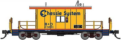 Bluford Steel Transfer Caboose w/Long Roof - Ready to Run Chessie System B&O C3051 (yellow, silver, blue, orange) - N-Scale