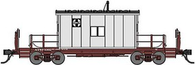 Bluford Steel Transfer Caboose w/Short Roof - Ready to Run Santa Fe 1002 (gray, Boxcar Red) - N-Scale