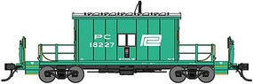 Bluford Steel Transfer Caboose w/Short Roof - Ready to Run Penn Central 18333 (Jade Green, white, Logo) - N-Scale