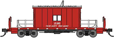 Bluford Steel Transfer Caboose w/Short Roof - Ready to Run Great Northern X180 (red, silver, Think Safety Work Safely Slogan) - N-Scale